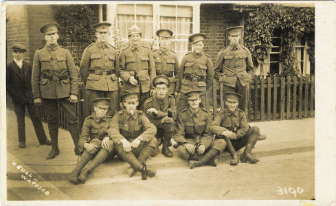 Isle of Wight Regiment soldiers outside billets at Watford, Summer 1915