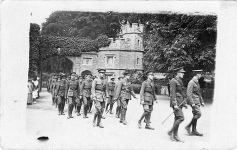 The Isle of Wight troops marching under the gates of Cassiobury Estate, Summer 1915.