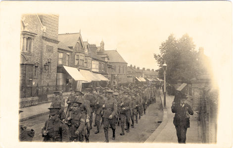 Isle of Wight Regiment marching along St Albans Road, Watford, 1915