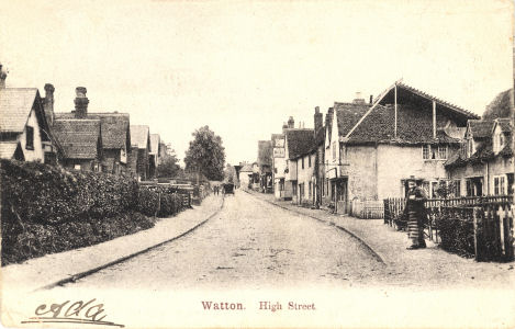 Post card of the High Street, Watton at Stone, Hertfordshire