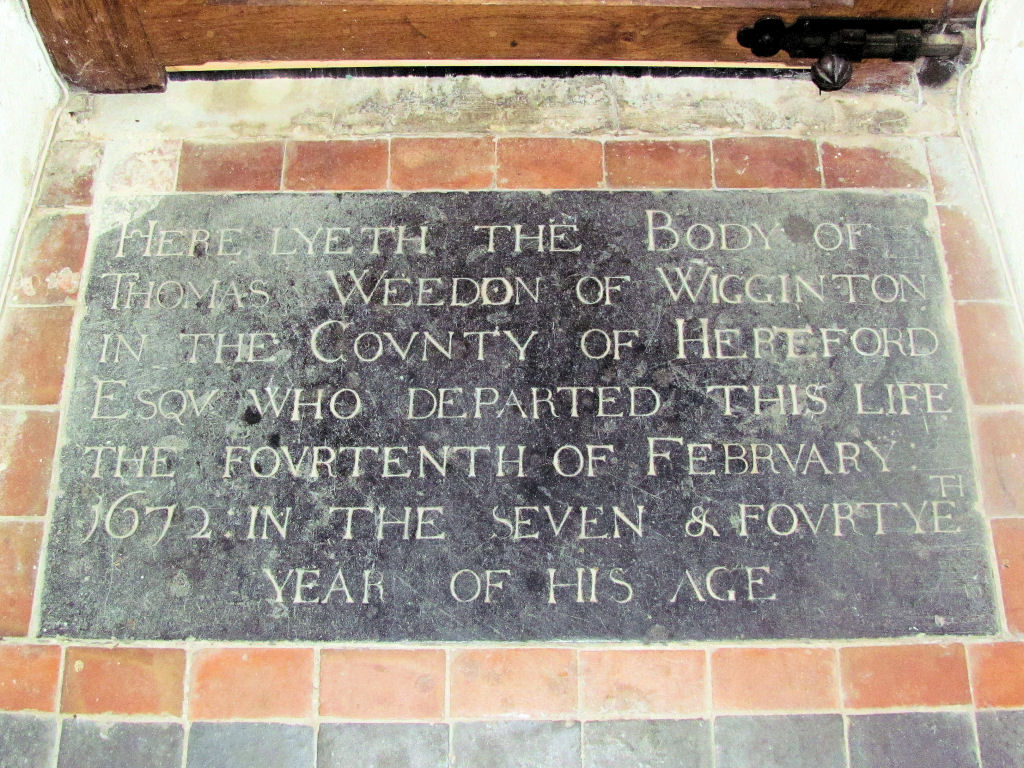 Early church Memorial, St Bartholomews, Ware, Herts