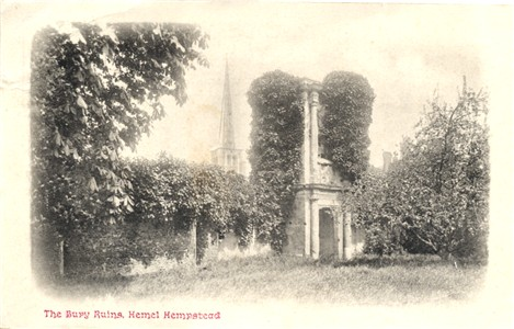 Title: The Bury Ruins, Hemel Hempstead - Publisher: ? - Date: posted 1903