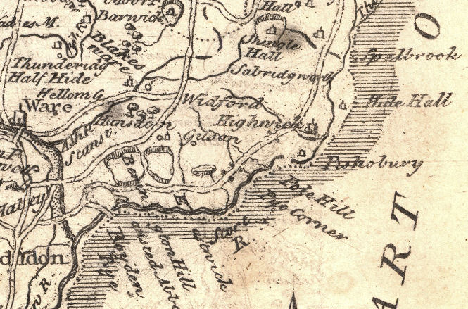 Map of area around Hunsdon, Herts, from The Agreeable Historian, 1746