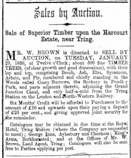 Harcourt Estate, Tring, Sale of timber by William Brown