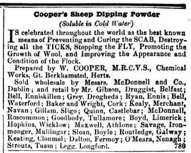 Cooper's Sheep Dipping Powder - Advert for sales in Ireland