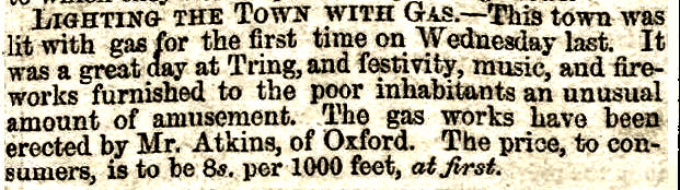 Opening of Tring gas works, erected by Atkins of Oxford