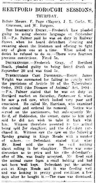 Hertford Borough Sessions, Tuberculosis, Cattle, Wright, Palmer, Harrison, Reed, Hoddesdon, Kings Meads, Disease of Animals Act