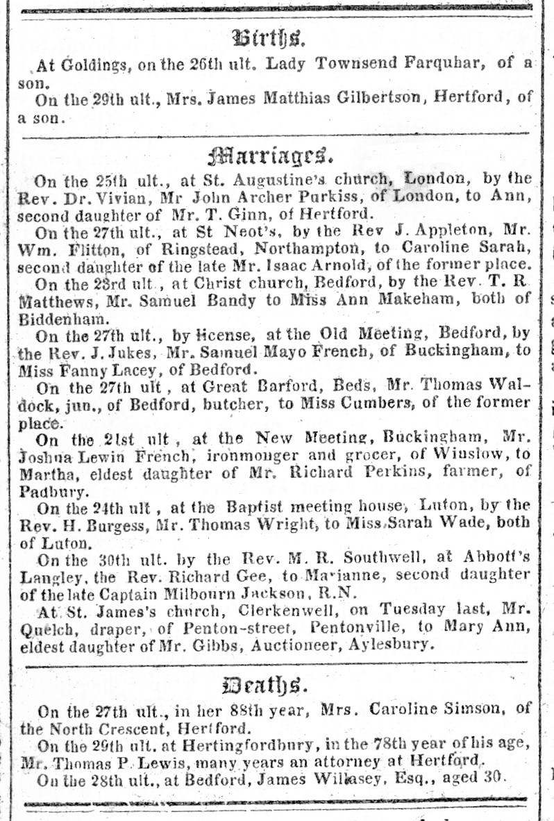 The Reformer, newspaper, 1841, births, marriages and deaths