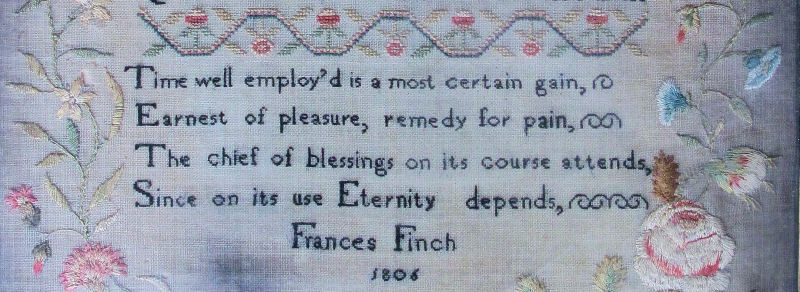 Frances Finch, Sampler, 1806, Castle Acre, Norfolk